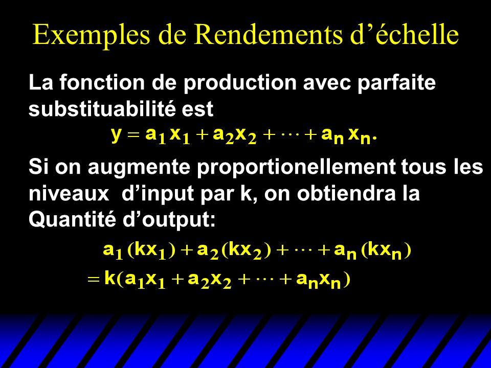 Exemples de Rendements déchelle La fonction de production avec parfaite substituabilité est Si on augmente proportionellement tous les niveaux dinput par k, on obtiendra la Quantité doutput: