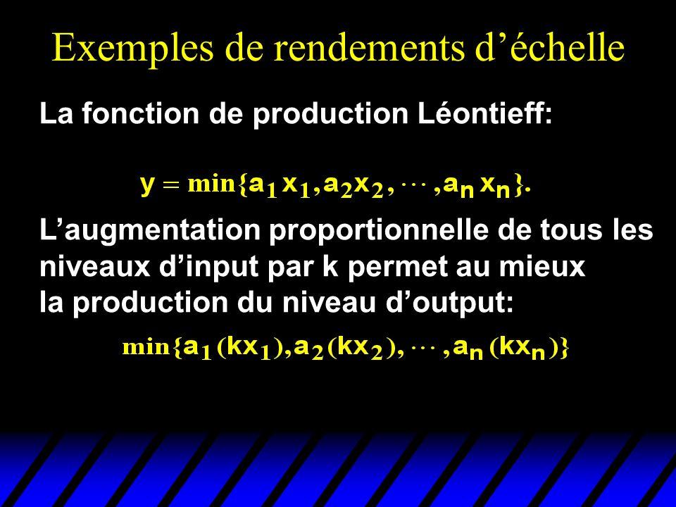 Exemples de rendements déchelle La fonction de production Léontieff: Laugmentation proportionnelle de tous les niveaux dinput par k permet au mieux la