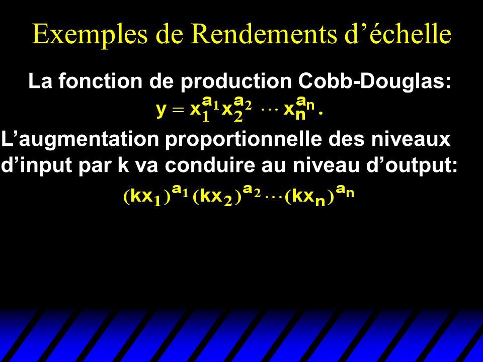 Exemples de Rendements déchelle La fonction de production Cobb-Douglas: Laugmentation proportionnelle des niveaux dinput par k va conduire au niveau doutput: