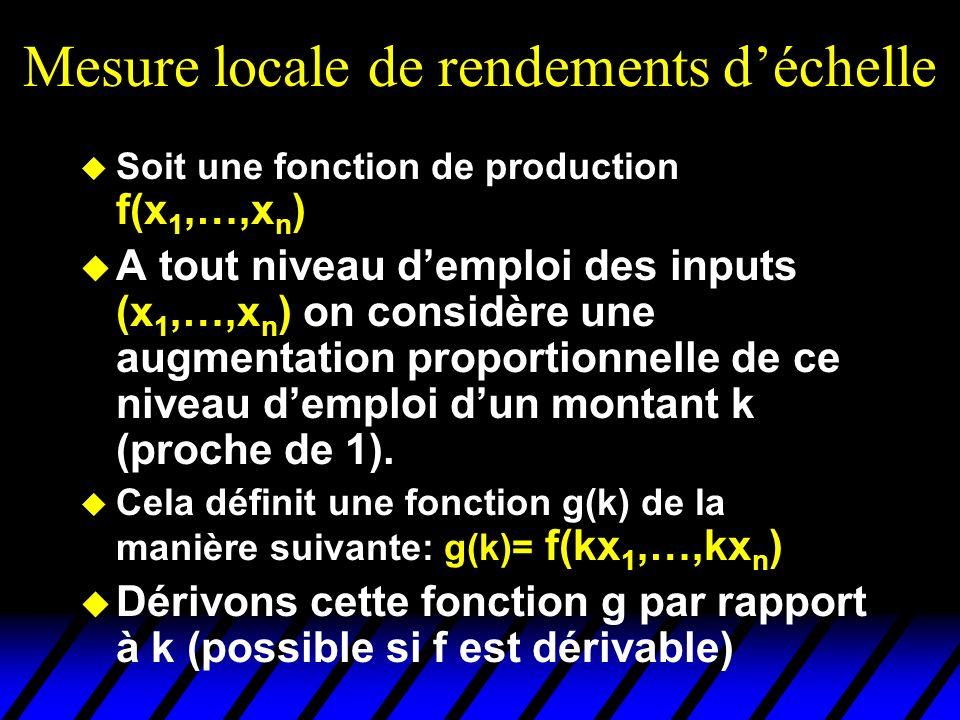 Mesure locale de rendements déchelle Soit une fonction de production f(x 1,…,x n ) A tout niveau demploi des inputs (x 1,…,x n ) on considère une augmentation proportionnelle de ce niveau demploi dun montant k (proche de 1).