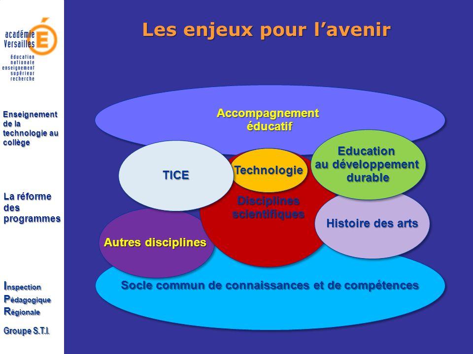 La réforme des programmes I nspection P édagogique R égionale Groupe S.T.I. Enseignement de la technologie au collège Les enjeux pour lavenir Socle co