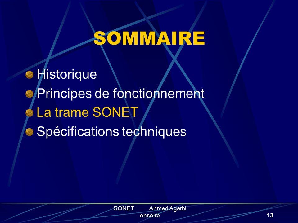SONET Ahmed Agarbi enseirb12 Packet Over Sonet POS est la technique generale de transport de paquet sur SONET. Elle permet d acheminer a haute vitesse