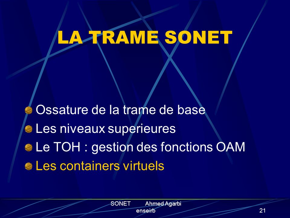 SONET Ahmed Agarbi enseirb20 A1A2C1 F1E1B1 D3 D2D1 H1H2 H3 K2 K1B2 D4 D5D6 D9D8D7 D12D11D10 Z1Z2E2 Section OverHead SOH Pointer Payload Line OverHead
