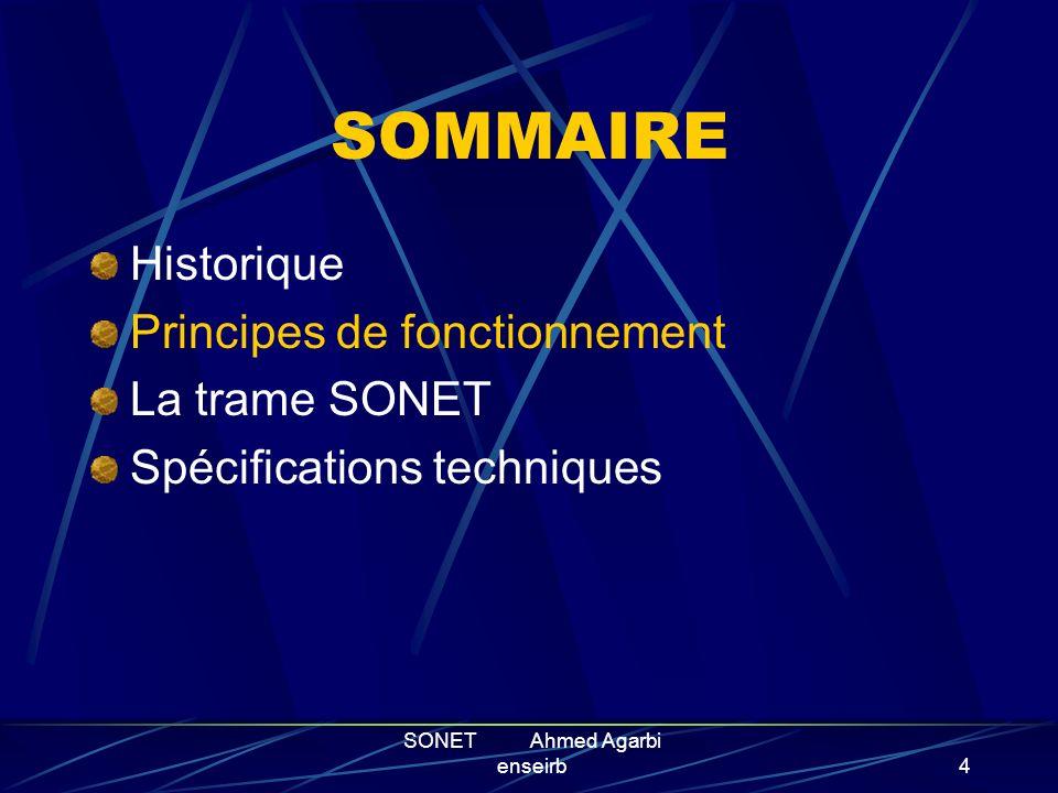 SONET Ahmed Agarbi enseirb3 HISTORIQUE Création: développé en 1985 par les laboratoires BELLCORE. Devient une recommandation du CCITT aux USA. 4 Objec