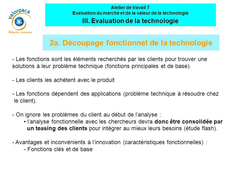 2a. Découpage fonctionnel de la technologie - Les fonctions sont les éléments recherchés par les clients pour trouver une solutions à leur problème te
