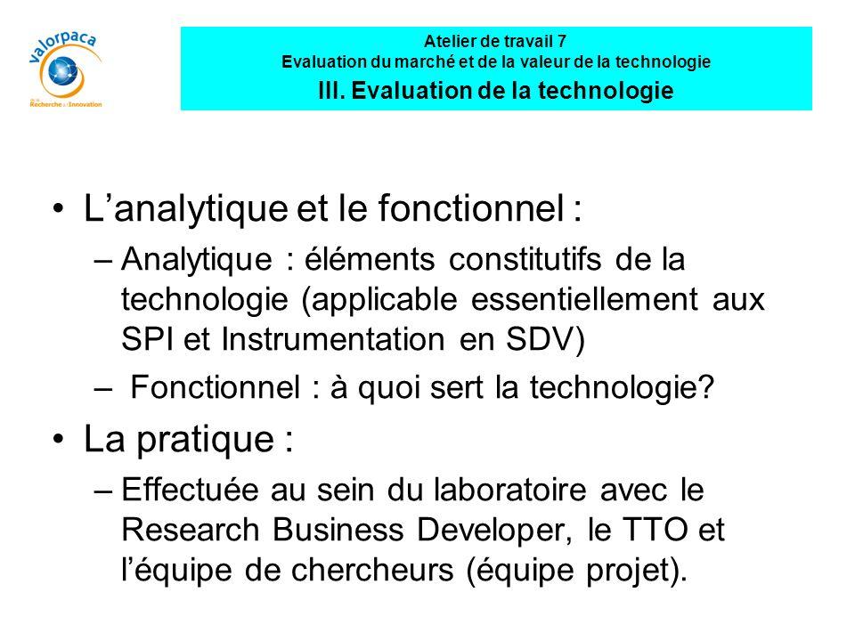 Lanalytique et le fonctionnel : –Analytique : éléments constitutifs de la technologie (applicable essentiellement aux SPI et Instrumentation en SDV) – Fonctionnel : à quoi sert la technologie.