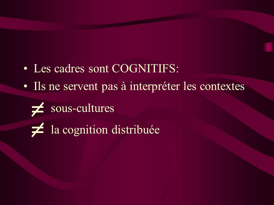 Les cadres sont COGNITIFS: Ils ne servent pas à interpréter les contextes sous-cultures la cognition distribuée