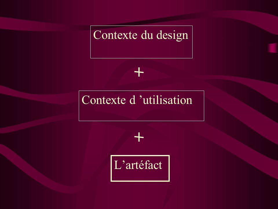 Lartéfact Contexte du design Contexte d utilisation