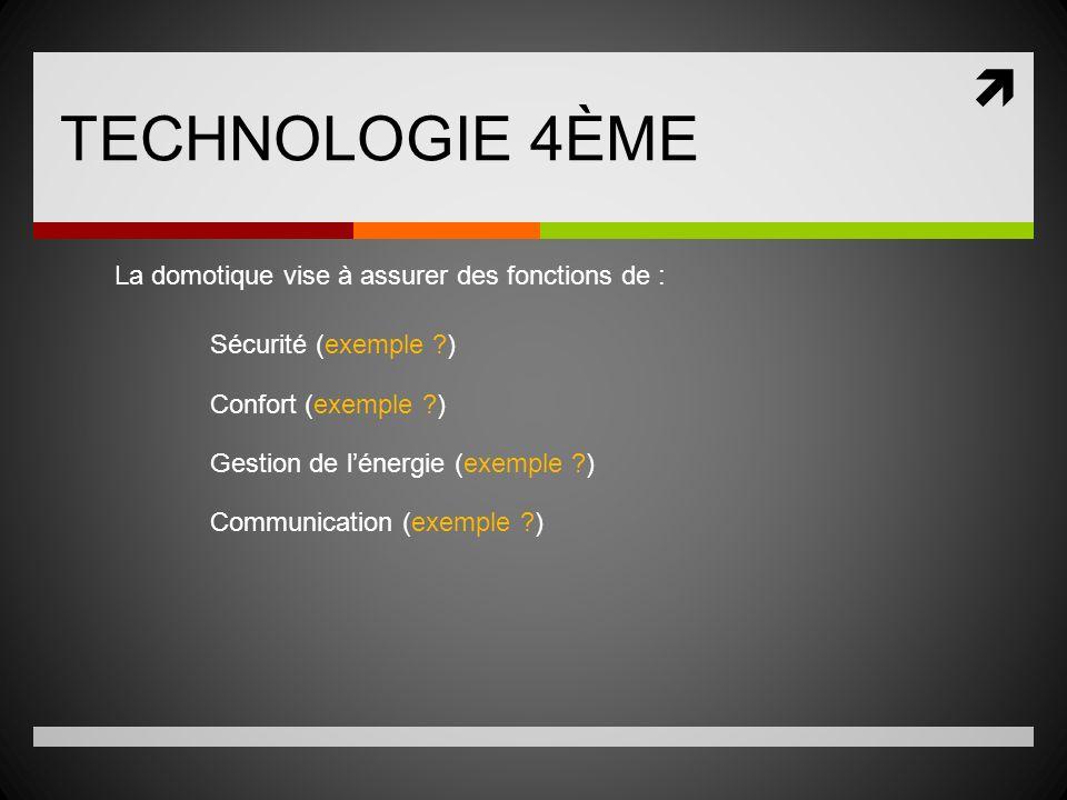 TECHNOLOGIE 4ÈME La domotique vise à assurer des fonctions de : Sécurité (exemple ?) Confort (exemple ?) Gestion de lénergie (exemple ?) Communication (exemple ?)