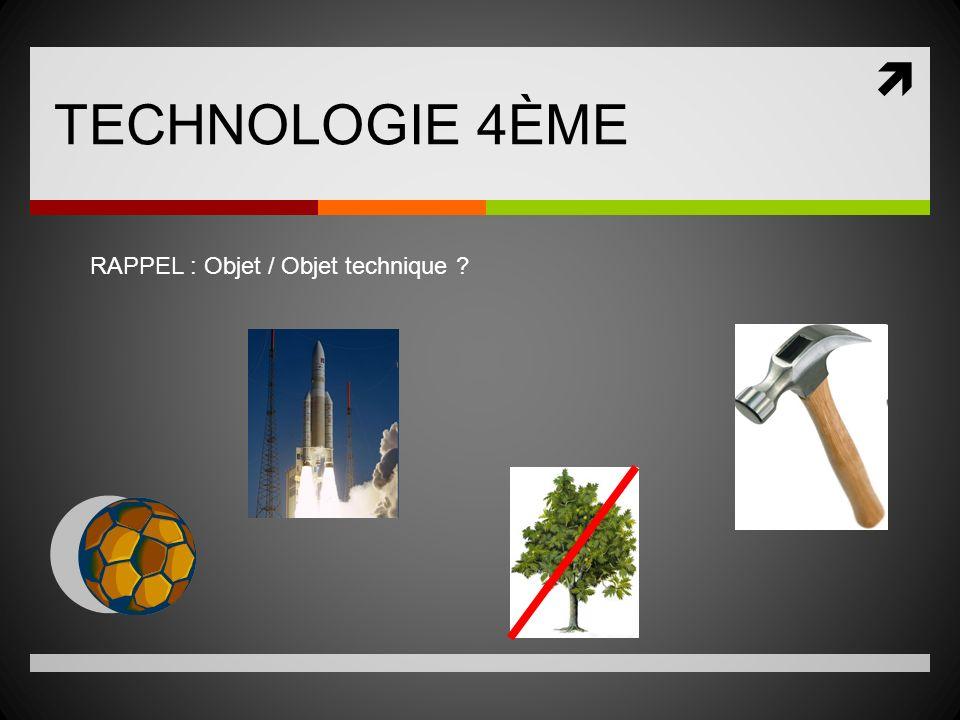 TECHNOLOGIE 4ÈME RAPPEL : Objet / Objet technique ?