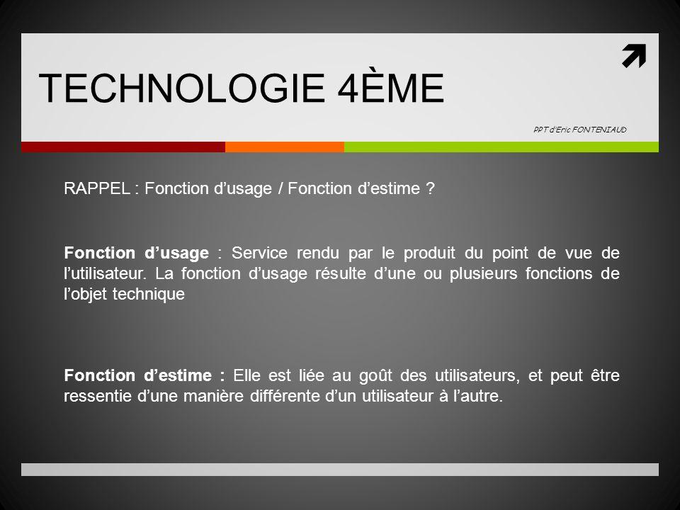 TECHNOLOGIE 4ÈME RAPPEL : Fonction dusage / Fonction destime .