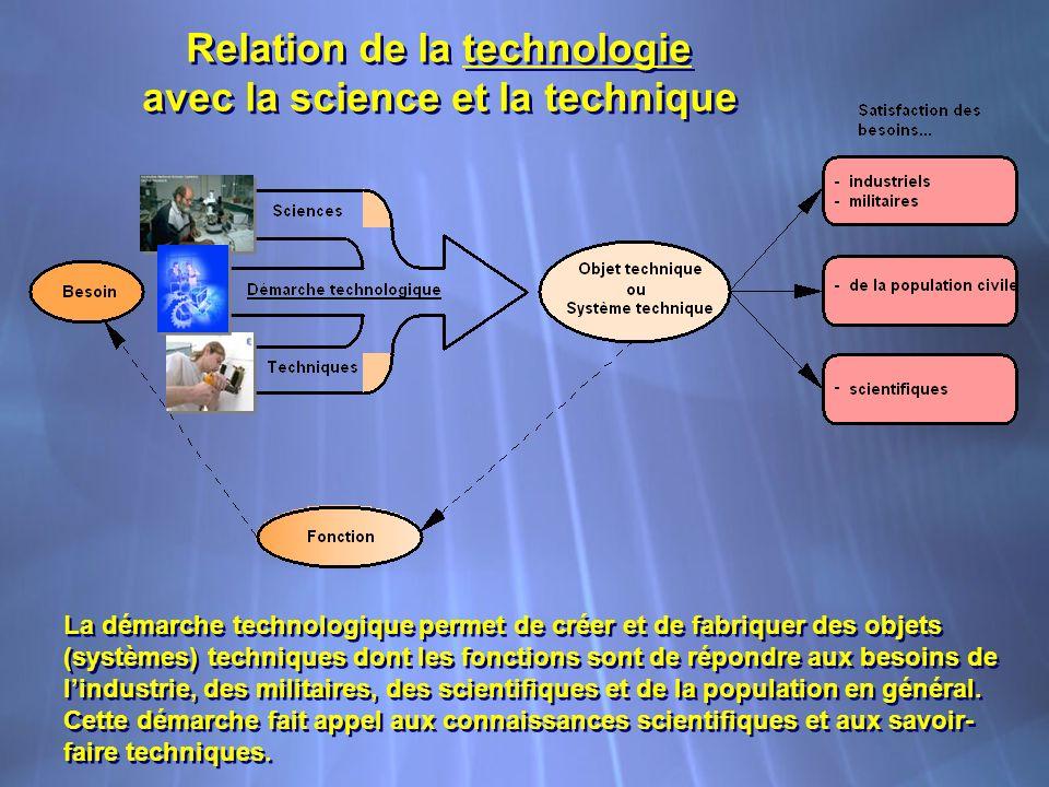 Relation de la technologie avec la science et la technique Relation de la technologie avec la science et la technique La démarche technologique permet de créer et de fabriquer des objets (systèmes) techniques dont les fonctions sont de répondre aux besoins de lindustrie, des militaires, des scientifiques et de la population en général.