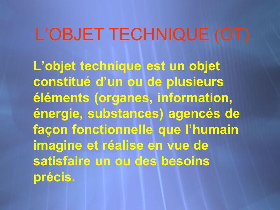 LOBJET TECHNIQUE (OT) Lobjet technique est un objet constitué dun ou de plusieurs éléments (organes, information, énergie, substances) agencés de façon fonctionnelle que lhumain imagine et réalise en vue de satisfaire un ou des besoins précis.