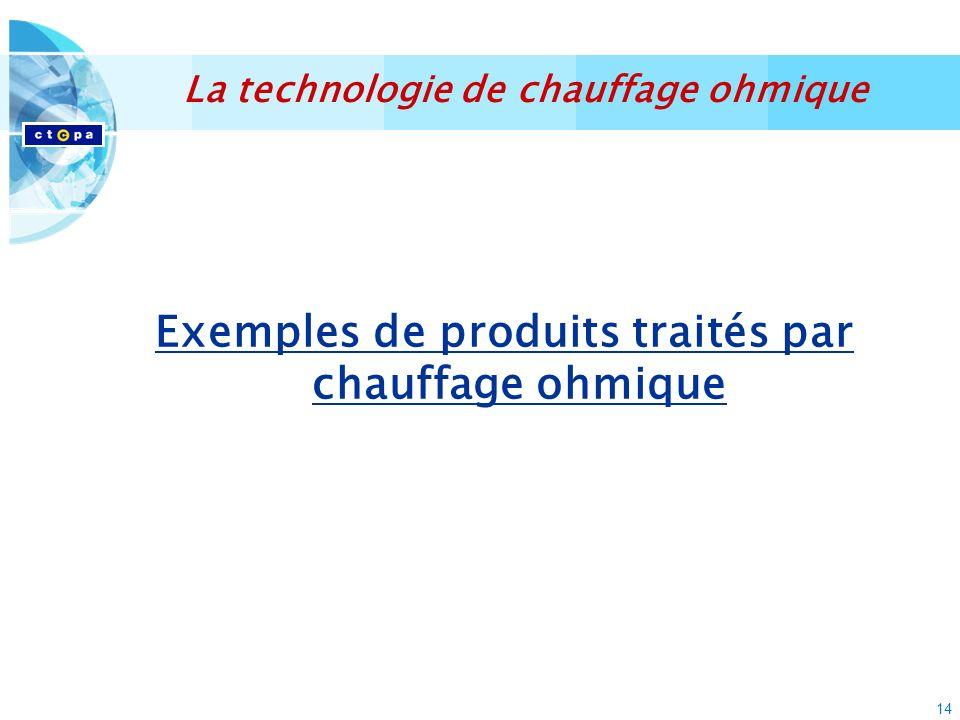14 Exemples de produits traités par chauffage ohmique La technologie de chauffage ohmique