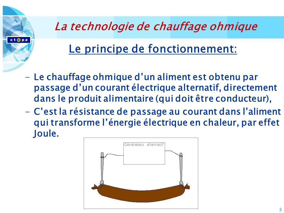 3 Le principe de fonctionnement: -Le chauffage ohmique dun aliment est obtenu par passage dun courant électrique alternatif, directement dans le produit alimentaire (qui doit être conducteur), -Cest la résistance de passage au courant dans laliment qui transforme lénergie électrique en chaleur, par effet Joule.