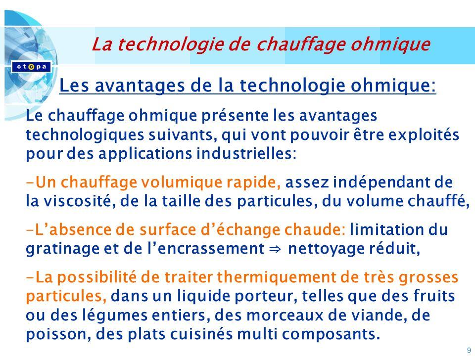 9 Les avantages de la technologie ohmique: Le chauffage ohmique présente les avantages technologiques suivants, qui vont pouvoir être exploités pour d