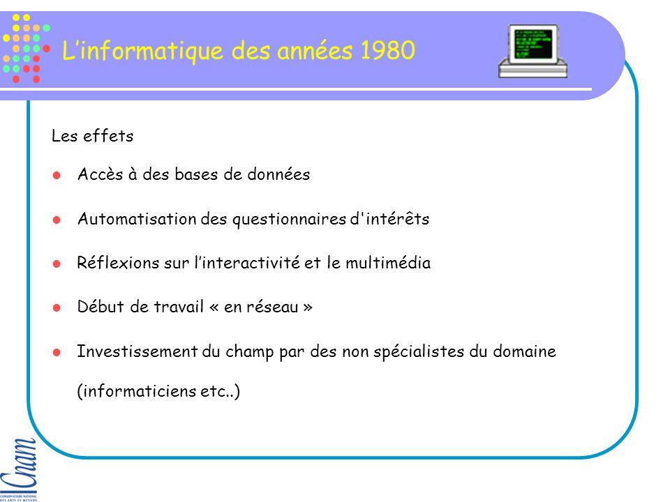Linformatique des années 1980 Les effets Accès à des bases de données Automatisation des questionnaires d intérêts Réflexions sur linteractivité et le multimédia Début de travail « en réseau » Investissement du champ par des non spécialistes du domaine (informaticiens etc..)