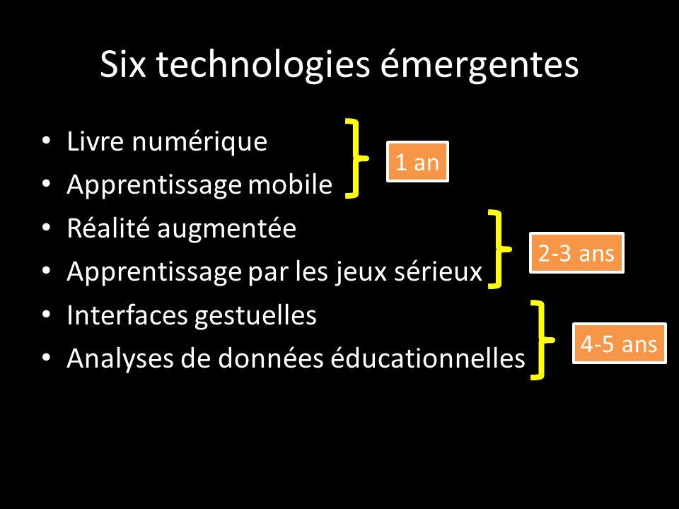 Six technologies émergentes Livre numérique Apprentissage mobile Réalité augmentée Apprentissage par les jeux sérieux Interfaces gestuelles Analyses de données éducationnelles 1 an 2-3 ans 4-5 ans