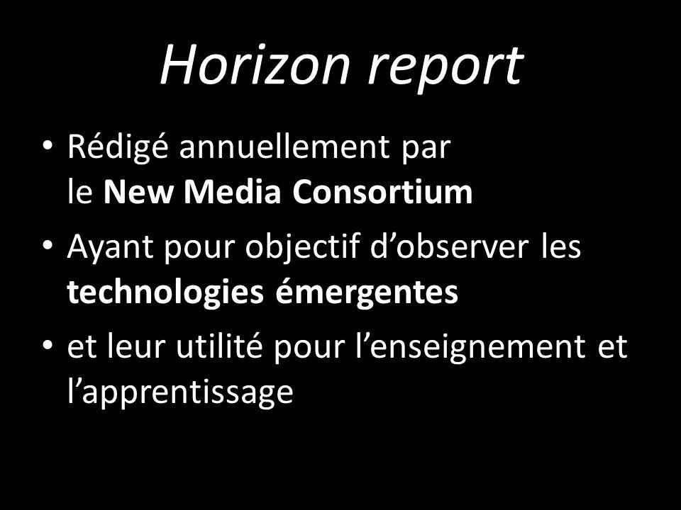 Horizon report Rédigé annuellement par le New Media Consortium Ayant pour objectif dobserver les technologies émergentes et leur utilité pour lenseignement et lapprentissage