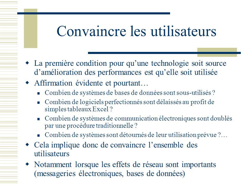 Convaincre les utilisateurs La première condition pour quune technologie soit source damélioration des performances est quelle soit utilisée Affirmati