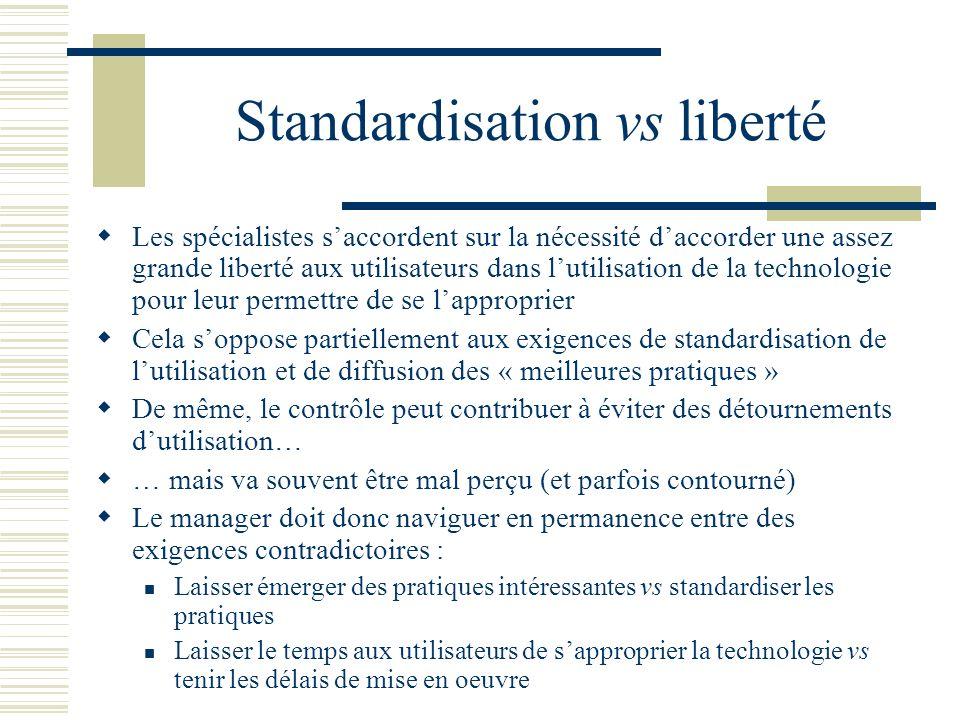 Standardisation vs liberté Les spécialistes saccordent sur la nécessité daccorder une assez grande liberté aux utilisateurs dans lutilisation de la te
