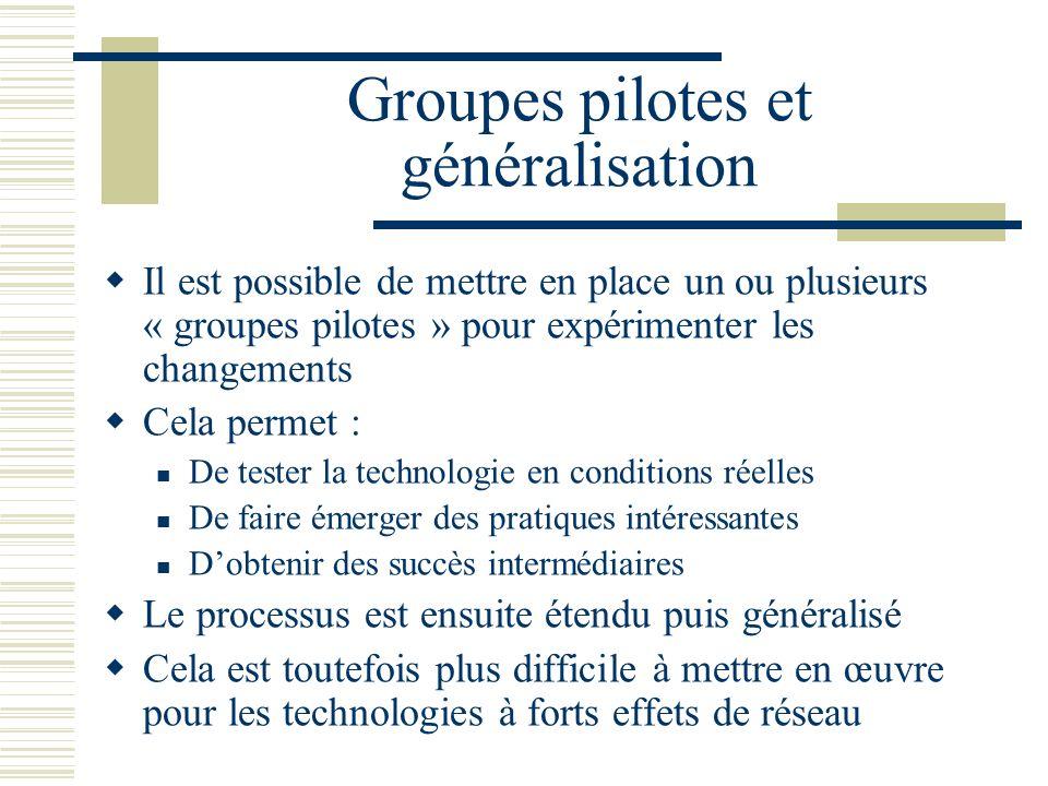 Groupes pilotes et généralisation Il est possible de mettre en place un ou plusieurs « groupes pilotes » pour expérimenter les changements Cela permet