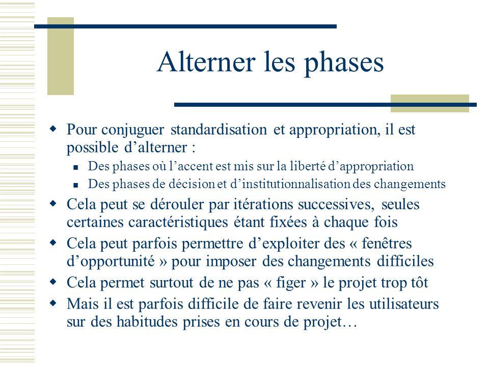 Alterner les phases Pour conjuguer standardisation et appropriation, il est possible dalterner : Des phases où laccent est mis sur la liberté dappropr