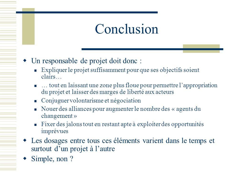 Conclusion Un responsable de projet doit donc : Expliquer le projet suffisamment pour que ses objectifs soient clairs… … tout en laissant une zone plu