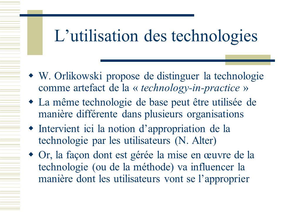 Lutilisation des technologies W. Orlikowski propose de distinguer la technologie comme artefact de la « technology-in-practice » La même technologie d