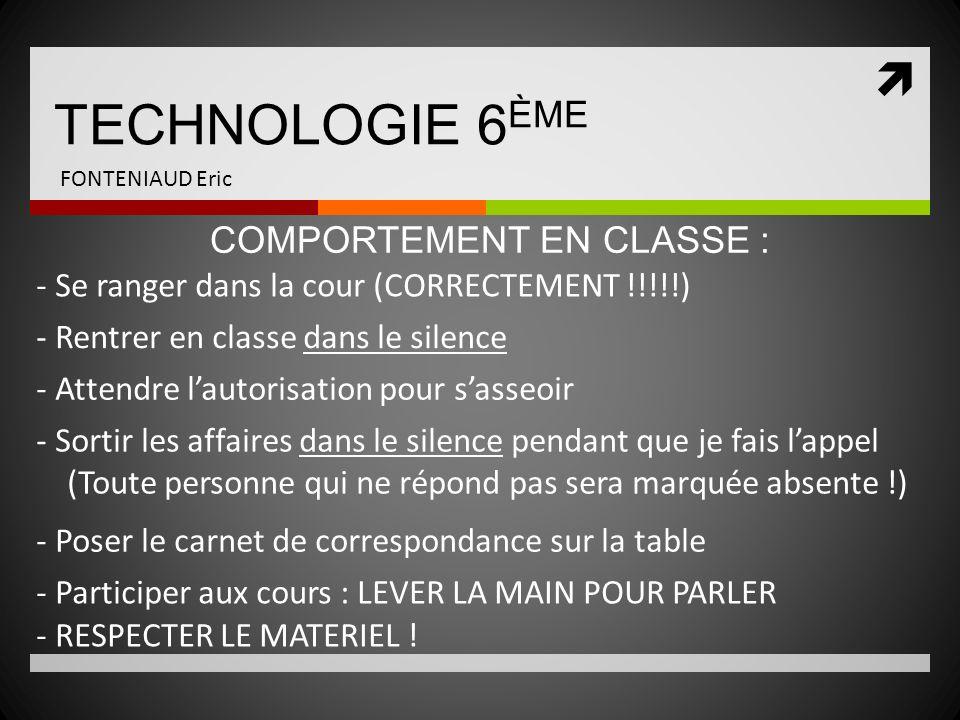 TECHNOLOGIE 6 ÈME FONTENIAUD Eric JAMAIS DE SURPRISE .