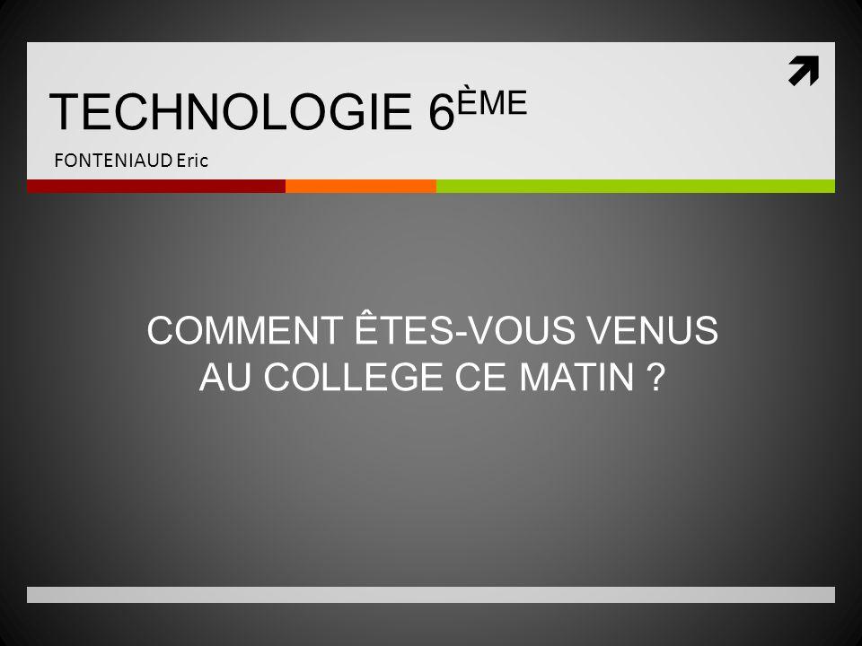 FONTENIAUD Eric DOMAINE DAPPLICATION : Les moyens de transport TECHNOLOGIE 6 ÈME