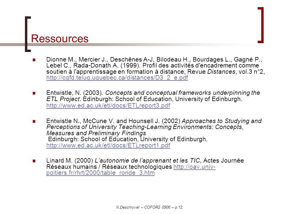 N.Deschryver – COFOR2 0506 – p.12 Ressources Dionne M., Mercier J., Deschênes A-J, Bilodeau H., Bourdages L., Gagné P., Lebel C., Rada-Donath A. (1999