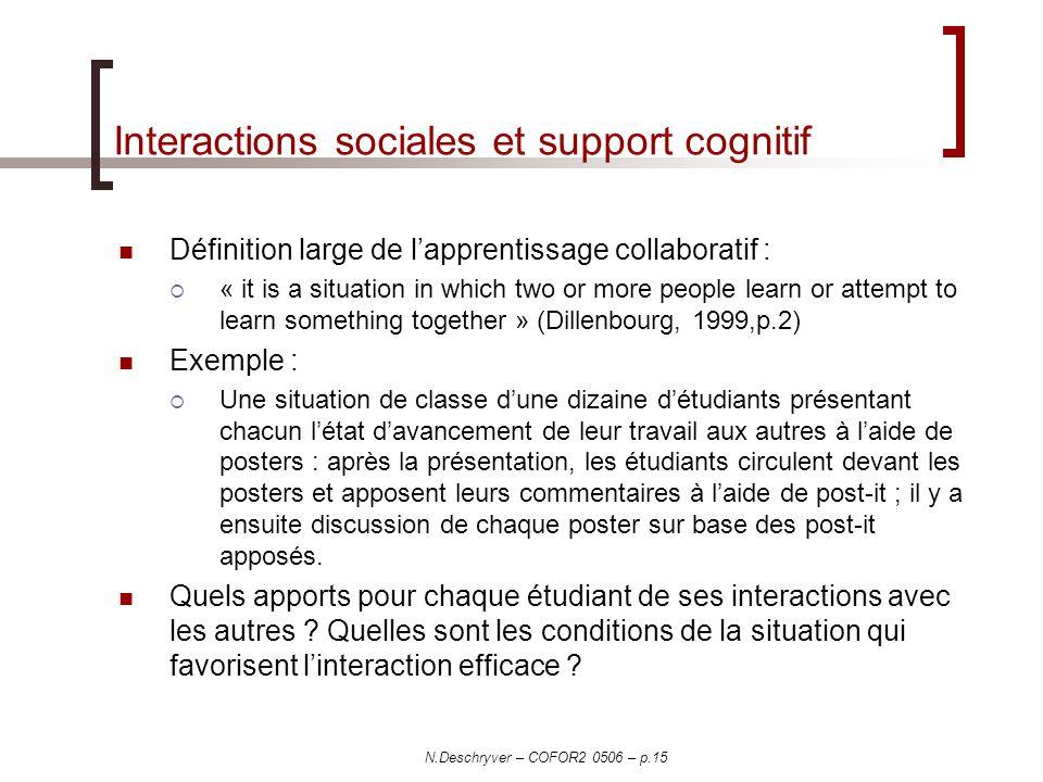 N.Deschryver – COFOR2 0506 – p.15 Interactions sociales et support cognitif Définition large de lapprentissage collaboratif : « it is a situation in w