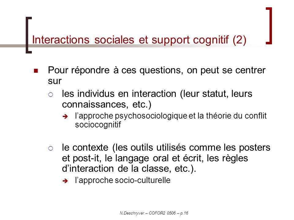 N.Deschryver – COFOR2 0506 – p.16 Interactions sociales et support cognitif (2) Pour répondre à ces questions, on peut se centrer sur les individus en