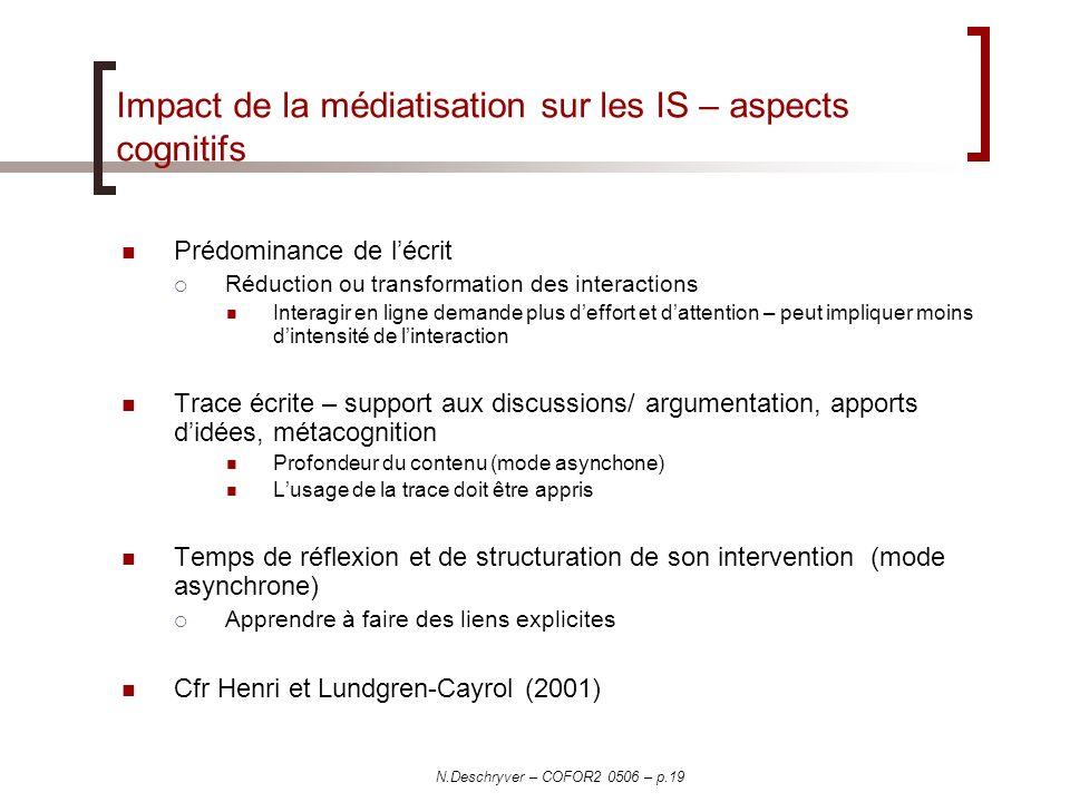 N.Deschryver – COFOR2 0506 – p.19 Impact de la médiatisation sur les IS – aspects cognitifs Prédominance de lécrit Réduction ou transformation des int