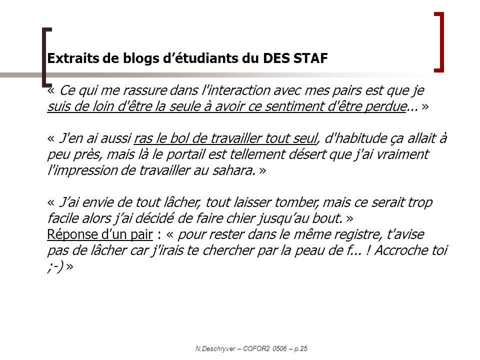 N.Deschryver – COFOR2 0506 – p.25 Extraits de blogs détudiants du DES STAF « Ce qui me rassure dans l'interaction avec mes pairs est que je suis de lo