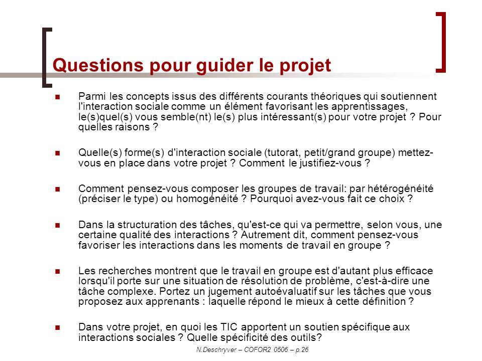 N.Deschryver – COFOR2 0506 – p.26 Questions pour guider le projet Parmi les concepts issus des différents courants théoriques qui soutiennent l'intera