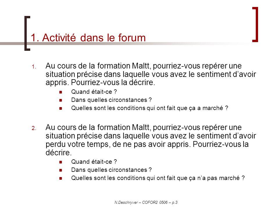 N.Deschryver – COFOR2 0506 – p.3 1. Activité dans le forum 1. Au cours de la formation Maltt, pourriez-vous repérer une situation précise dans laquell