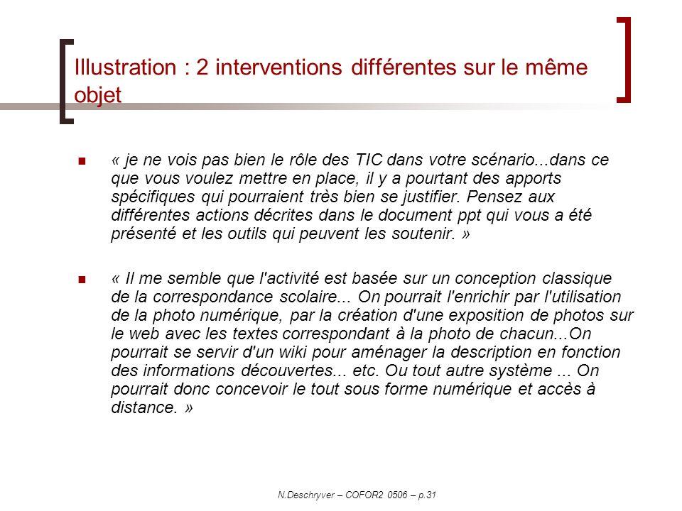 N.Deschryver – COFOR2 0506 – p.31 Illustration : 2 interventions différentes sur le même objet « je ne vois pas bien le rôle des TIC dans votre scénar