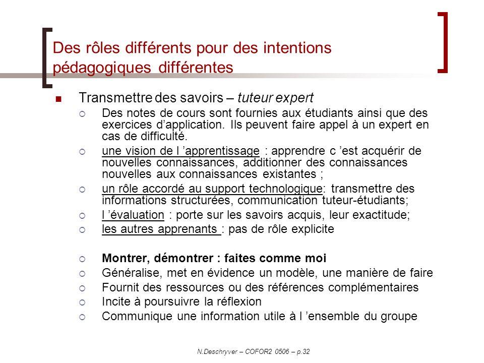 N.Deschryver – COFOR2 0506 – p.32 Des rôles différents pour des intentions pédagogiques différentes Transmettre des savoirs – tuteur expert Des notes