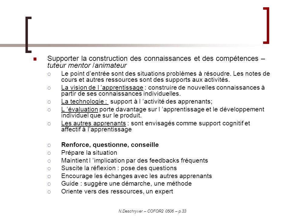 N.Deschryver – COFOR2 0506 – p.33 Supporter la construction des connaissances et des compétences – tuteur mentor /animateur Le point dentrée sont des situations problèmes à résoudre.