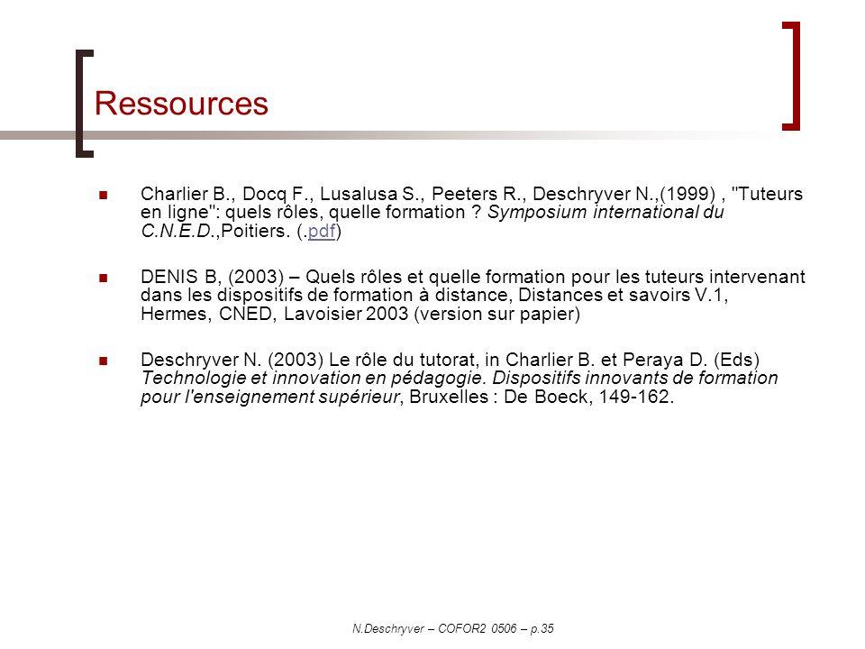 N.Deschryver – COFOR2 0506 – p.35 Ressources Charlier B., Docq F., Lusalusa S., Peeters R., Deschryver N.,(1999), Tuteurs en ligne : quels rôles, quelle formation .