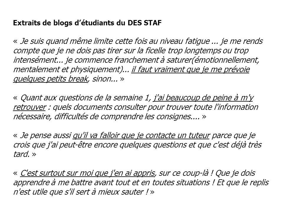 Extraits de blogs détudiants du DES STAF « Je suis quand même limite cette fois au niveau fatigue... je me rends compte que je ne dois pas tirer sur l