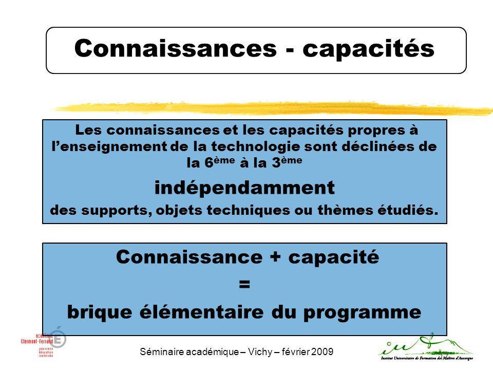 Séminaire académique – Vichy – février 2009 17 Connaissances - capacités Les connaissances et les capacités propres à lenseignement de la technologie