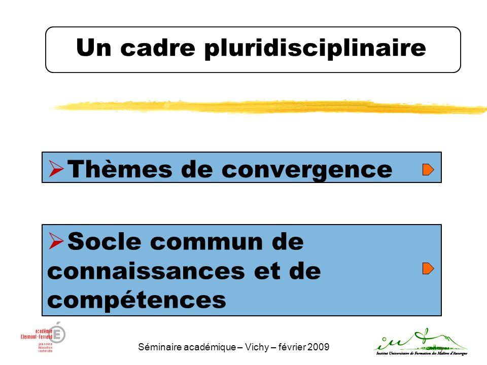 Séminaire académique – Vichy – février 2009 8 Les thèmes de convergence Extraits du programme : « A lissue de ses études au collège, lélève doit sêtre construit une première représentation globale et cohérente du monde dans lequel il vit.