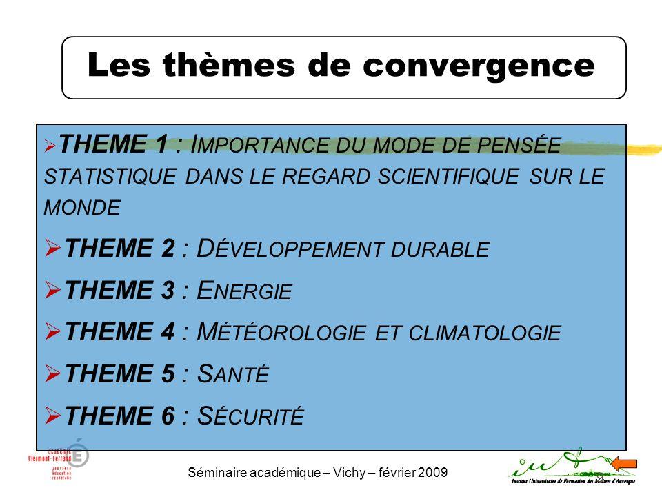 Séminaire académique – Vichy – février 2009 9 Les thèmes de convergence THEME 1 : I MPORTANCE DU MODE DE PENSÉE STATISTIQUE DANS LE REGARD SCIENTIFIQU