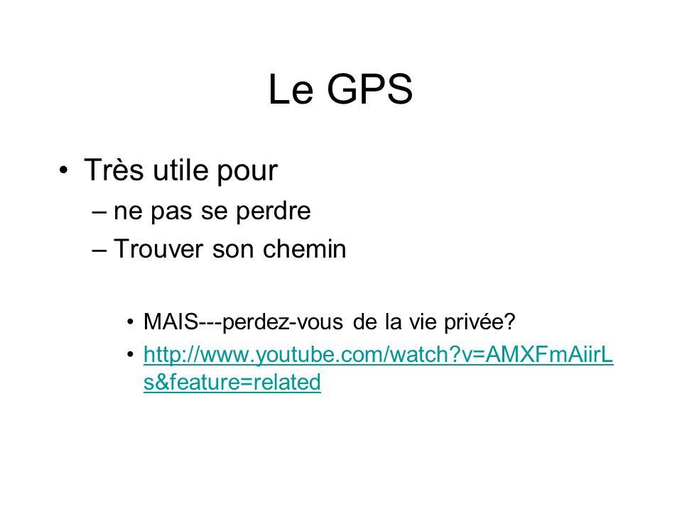 Le GPS Très utile pour –ne pas se perdre –Trouver son chemin MAIS---perdez-vous de la vie privée.