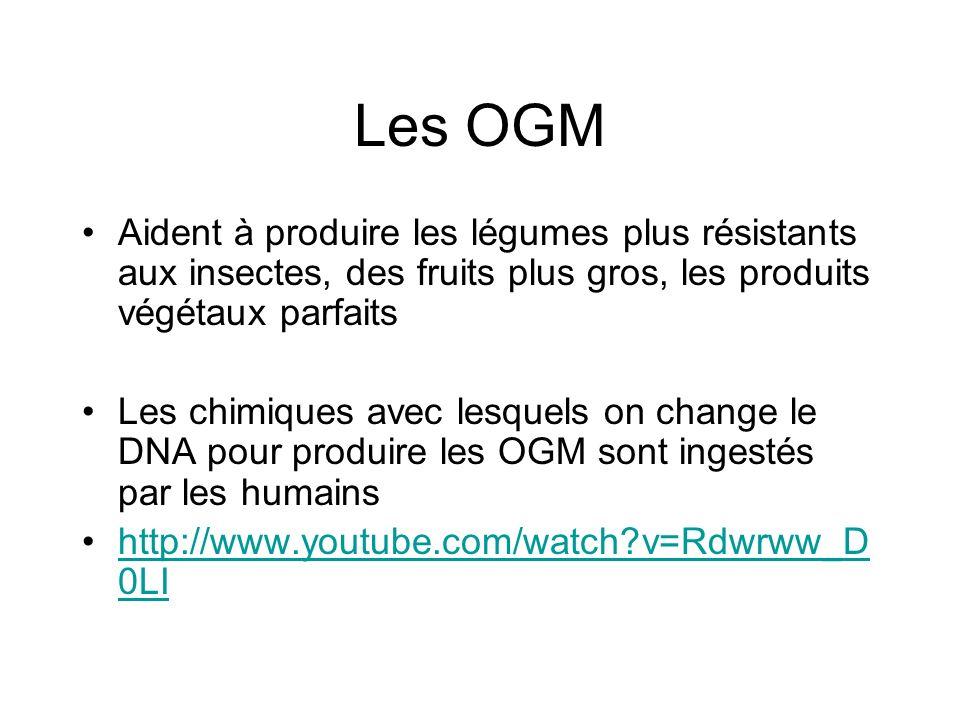 Les OGM Aident à produire les légumes plus résistants aux insectes, des fruits plus gros, les produits végétaux parfaits Les chimiques avec lesquels on change le DNA pour produire les OGM sont ingestés par les humains http://www.youtube.com/watch?v=Rdwrww_D 0LIhttp://www.youtube.com/watch?v=Rdwrww_D 0LI