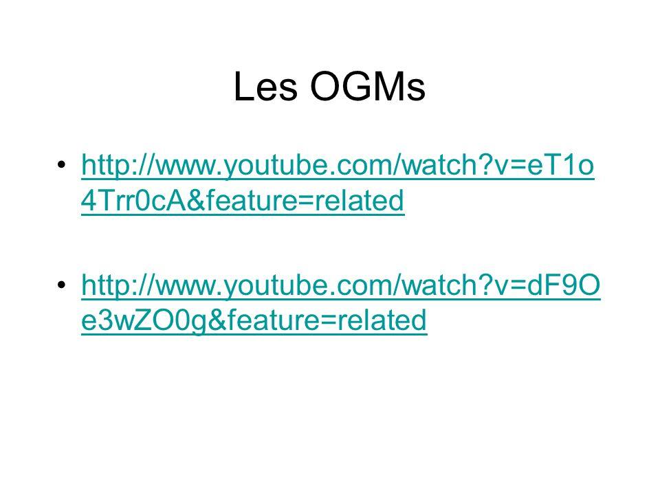 Les OGMs http://www.youtube.com/watch v=eT1o 4Trr0cA&feature=relatedhttp://www.youtube.com/watch v=eT1o 4Trr0cA&feature=related http://www.youtube.com/watch v=dF9O e3wZO0g&feature=relatedhttp://www.youtube.com/watch v=dF9O e3wZO0g&feature=related