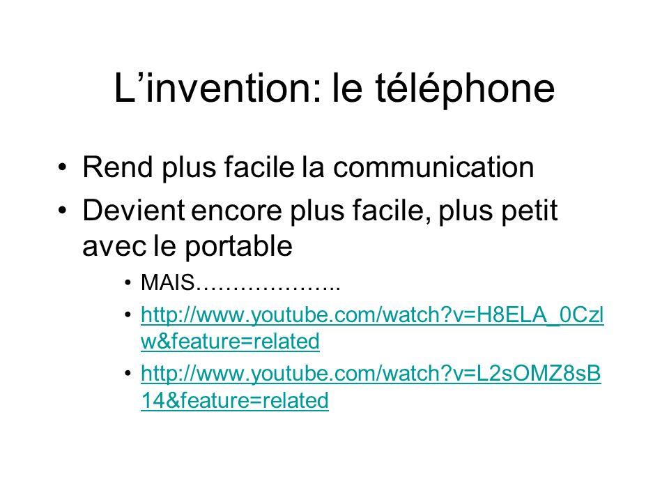 Linvention: le téléphone Rend plus facile la communication Devient encore plus facile, plus petit avec le portable MAIS………………..